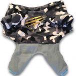 Hund Overall Camo Gray   Soft Plysch Fodrad Jumpsuit för Liten Hund
