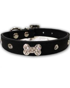 Hundhalsband | Diamond Bone Black
