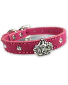Hundhalsband | Diamond Queen Royal Pink Velvet | DiivaDog.se