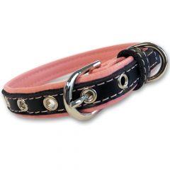 Halsband Soft Pink & Black | Mjuk läder för Liten Hund eller Katt| DiivaDog.se