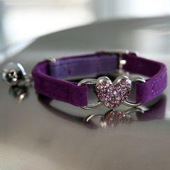 KattHalsband Purple Diamond Heart