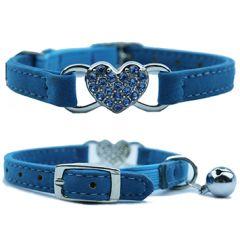Kattens halsband ljus blå diamant hjärta | DiivaDog.se