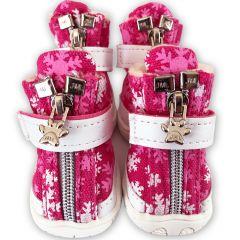 Koiran Tossut Snow Flakes Pink | Karvavuorilliset Suojatossut DiivaDog.fi