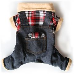 Hundens Jeans Overall Jumpsuit med fleece-material fleece-materiaalia, DiivaDog