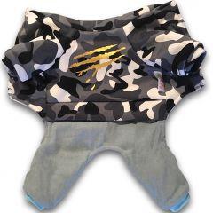Hund Overall Camo Gray | Soft Plysch Fodrad Jumpsuit för Liten Hund