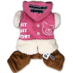 Hund Kläder | Hundens Hoodie Overall | Pink Ice Bear Jumpsuit