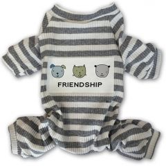 Gray Striped Hund Pyjamas   DiivaDog.se