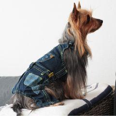 Hundkläder, Jeans Overall för hunden, Elastisk Jeans Material för job och fritid