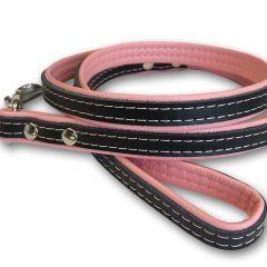 Hundkoppel med Läder Pink & Black | Katt Koppel | Lätt, Smidig Koppel