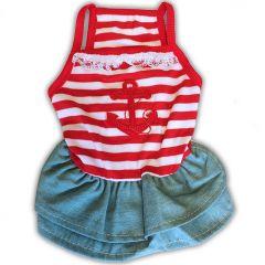 Hundens Klänning | Snygg sommar kjol för Hunden | Red White Anchor Girl