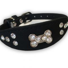 Hundhalsband Bling Bone Svart | Frambredd Mjuk Halsband till Hund