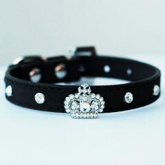 Hundhalsband | Katthalsband | Mini King Black Velvet | för en liten Hund och Katt, DiivaDog