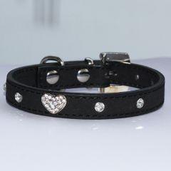 Hundhalsband | Katthalsband  Black Velvet Glitter Heart, DiivaDog