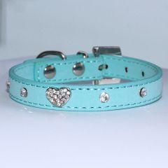 Halsband Mini Blue Velvet Glitter Heart, för en liten Hund och Katt, DiivaDog