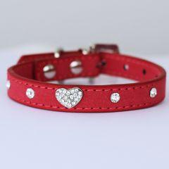 Hundhalsband | Katthalsband | Rose Velvet Glitter Heart, DiivaDog