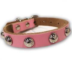 Hundhalsband Rose med Nitar | Läderhalsband | Katthalsband