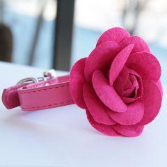 Hundens Halsband Pink Rose, Halsband för en liten Hund och Katt, DiivaDog