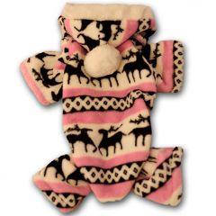 Koiran Vaatteet, Pehmo-oloasu koiralle, Pinkki Lumiporo, hupullinen koiran haalari