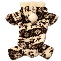 Hundens söt Jumpsuit Sweet Caramel med långa ärmar och huva. Bekväm plush-material.