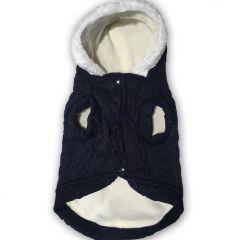Hundhoodie Love Blue Fleece & Knit för bredare hund kropp