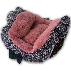 Hundbädd | Kattbädd | Rosa Flowerbed med Frill