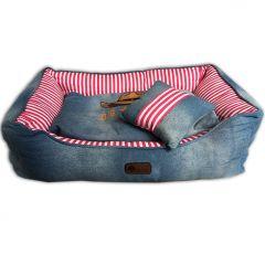 Hundbädd Western Jeans Pink & Kudde Hundsäng |Bekväm och Mjuk