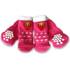 Hundstrumpor Nonslip Pink Strawberry | DiivaDog.se