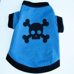 Hund T-shirt Skull Blue | Hundtröja Känslig Hudbomull, DiivaDog