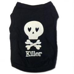 Hund Kläder | Skull Killer | Svart Hundens Shirt Tank Top