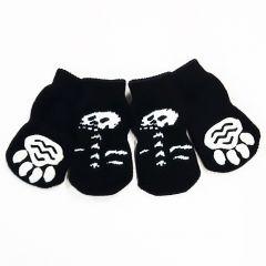 Hundstrumpor Black & White | Spooky Skeletons | Hundsockor, Halkfria Hund Strumpor | 4 sockor i paket |