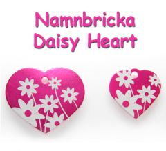 Namnbricka Daisy Heart Pink