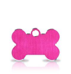 Namnbricka Hund | Classic Bone Pink & Silver
