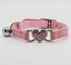 KattHalsband Diamant Hjärta Rosa