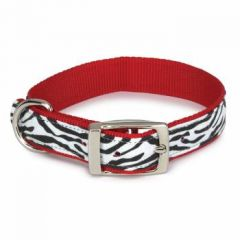 Halsband Zebra Red, Black & White