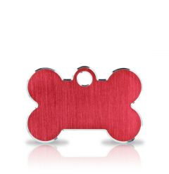 Namnbricka Hund | Classic Bone Red & Silver