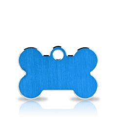 Namnbricka Hund | Classic Bone Blue & Silver